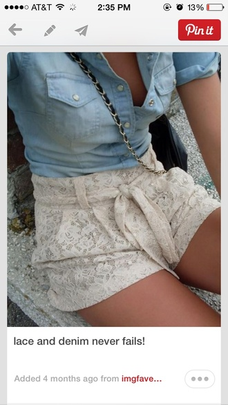 shorts lace white cream shirt classy pls romper blue jean lace shorts romper