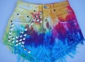shorts,tie dye,colourful shorts,rhinestones