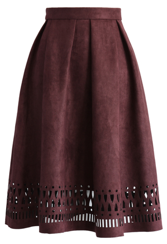 skirt geo cutout suede pleated midi skirt in plum pleated skirt chicwish