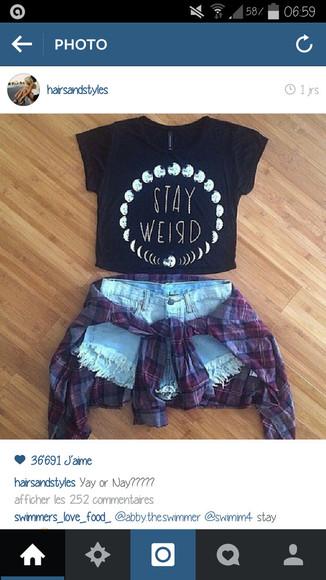t-shirt stay weird top moon