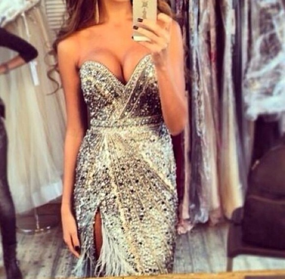 dress sweetheart neckline sweetheart dresses silver sequin silver sequin silver sequin dress sequin dress feathers