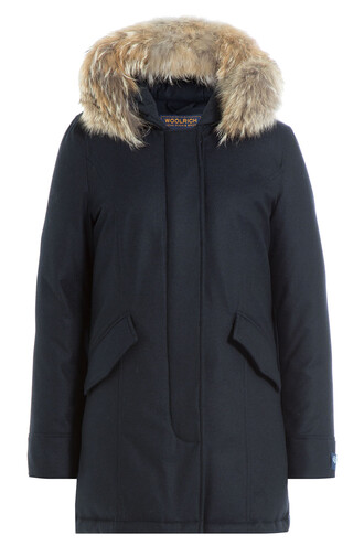 parka fur wool blue coat
