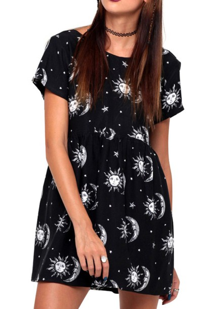 123329182e3 dress moon dark dark fashion wicca grunge moon dress hippie hipster indie  black dress goth choker