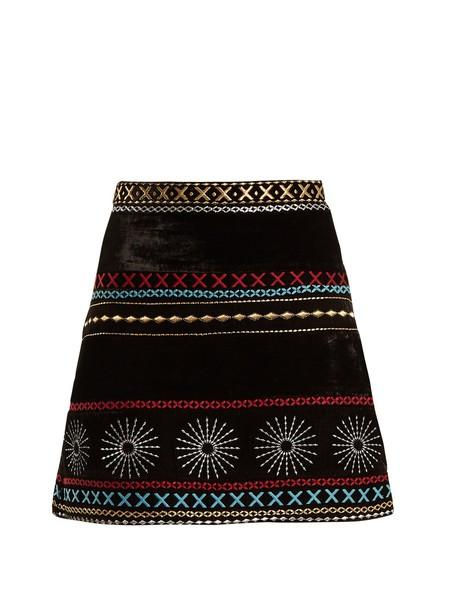 skirt mini skirt mini embroidered velvet black