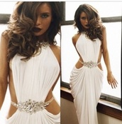 dress,backless prom dress,white chiffon dress,ruffle,floor length dress,white drape prom dress  with embellished sliver jewels,embellished sliver jewels,white,gold,prom dress,sleeveless dress,backless dress,chiffon dress,white dress,sideless dress,beaded,long prom dress,homecoming dress,slit prom dress,white prom dress