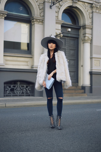 faux fur blogger fluffy pale division lace-up shoes hat ripped jeans