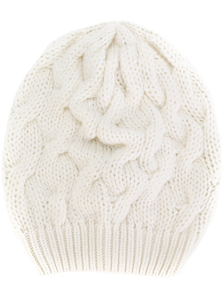 beanie white knit hat
