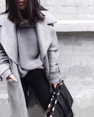 bag winter outfits style fashion coat grey sweater grey coat knitted sweater sweater weather knitwear boyfriend coat wool coat winter coat sweatshirt sweet winter sweater tumblr outfit lookbook store