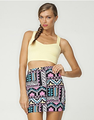 Motel kimmy mini tube skirt in aztec pastel print