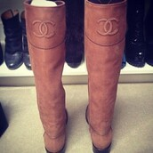 shoes,boots,chanel,riding boots,classy,cute,ipadiphonecase.com,chanel boots,brown,knee high,knee high boots