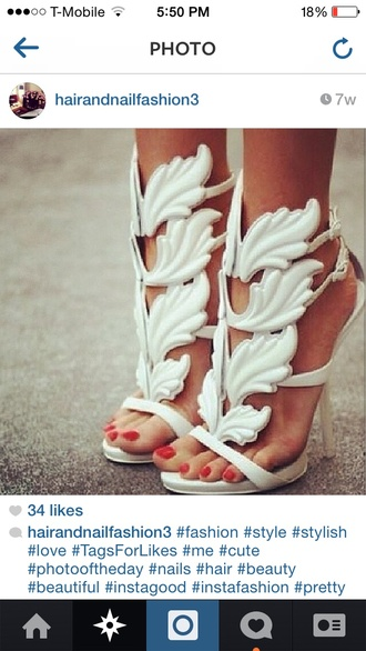 shoes white pumps wings