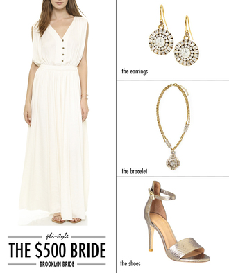 bklyn bride blogger wedding clothes wedding accessories earrings silver shoes sandals white dress