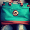 Michael kors teal and brown purse