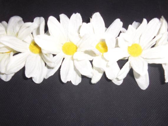 All white daisy flower crown headband by oceanofflowers on etsy