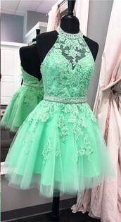 dress,a-line graduation dresses,mint green prom dresses,with applique halter sale online