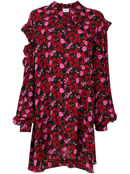 Magda Butrym dress floral dress women floral black silk