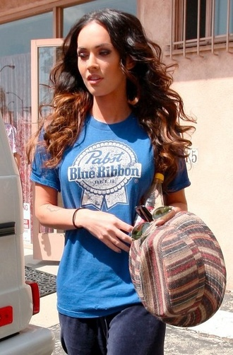 blue megan fox t-shirt shirt