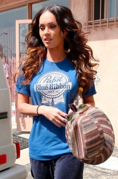 t-shirt blue megan fox t-shirt shirt