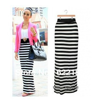 2013 FASHION WOMEN MULTI STRIPE LONG SEXY ELEGANT MAXI SKIRT HIGHT WAIST SKIRT 18004-in Skirts from Apparel & Accessories on Aliexpress.com