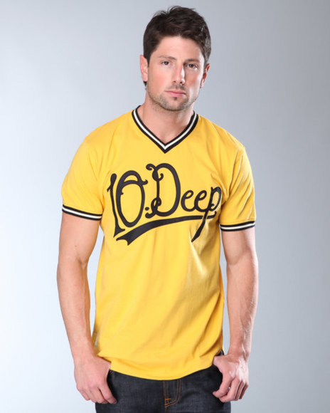 yellow shirt shirt clothes baseball jersey 10 deep