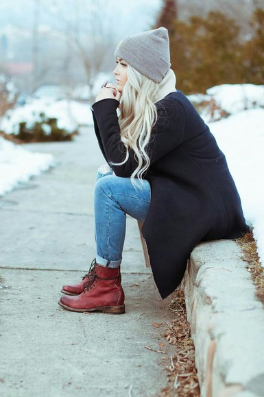 winter outfits combat boots