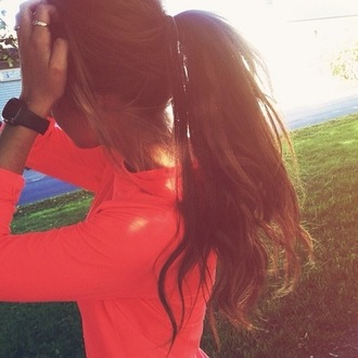 neon coral running jacket fitness fitness shirt workout top watch joggers sweater shirt brunette tan workout