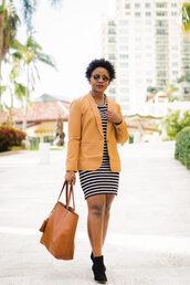pinksole,blogger,sunglasses,jewels,jacket,dress,shoes,bag,yellow jacket,blazer,tote bag,ankle boots,striped dress