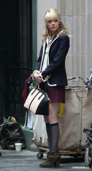 skirt jacket navy shoes navy blue navy jacket navy blazer blue blazer purple skirt violet skirt purple violet plum gray socks socks polka dot polka dot socks boots green booties purse cream cream and black cream and black purse white and black white and black purse bag