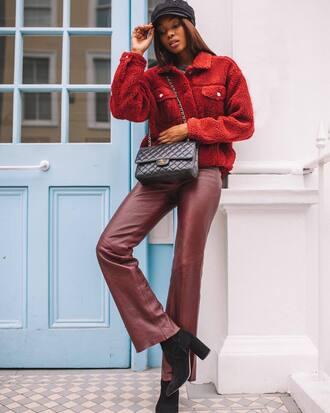 jacket leather pants fisherman cap tumblr red jacket fuzzy jacket pants red pants boots black boots bag