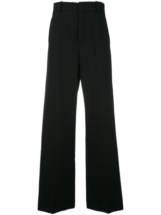 women spandex black silk wool pants