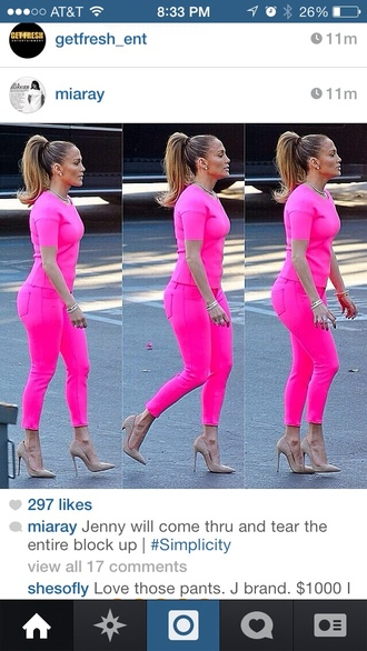 blouse jennifer lopez pink pants