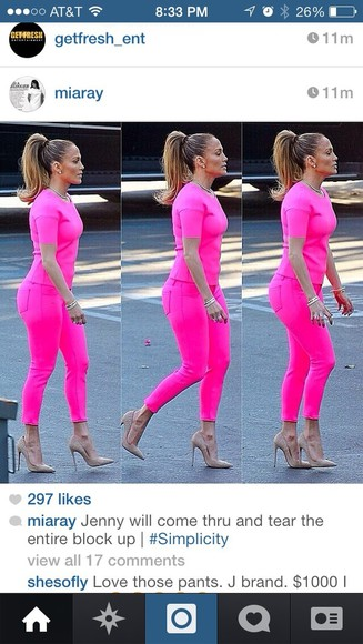 blouse pink pants jennifer lopez