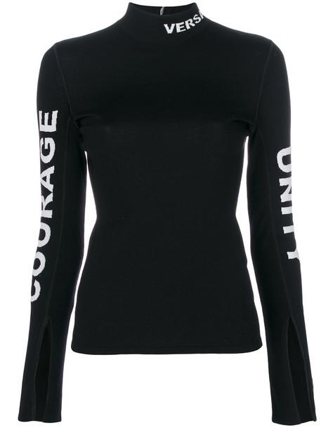 Versace - slim fit logo sweater - women - Polyester/Wool - 38, Black, Polyester/Wool
