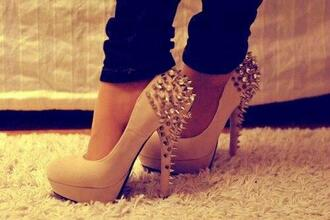 shoes high heels rivets rivet shoes