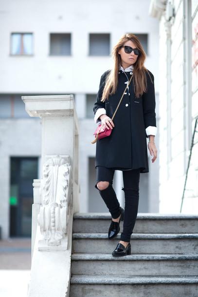 the fashion fruit blogger loafers ripped jeans black jeans black coat mini bag