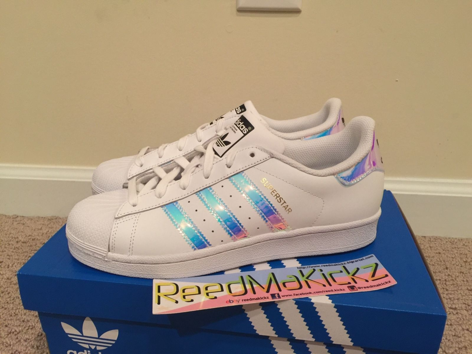 ab86632b0a88 Adidas Superstar Iridescent Hologram white Grade School Youth ...