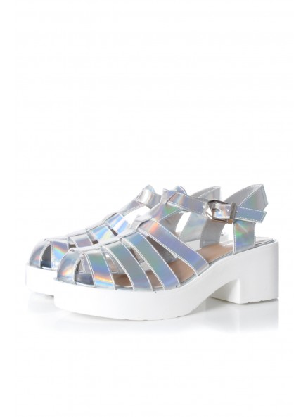 Silver Hologram Gladiator Strappy Heeled Sandals