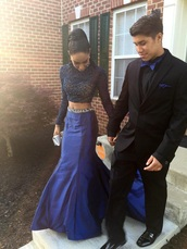 dress,prom dress,two piece prom dresses,long prom dress,mermaid prom dress,sexy prom dress,blue dress,blue prom dress,royal blue prom dress,long sleeve dress,long sleeve prom dress,two piece dress set,2 piece skirt set,2 piece prom dress,prom dress 2016,evening dress,formal event outfit,evening outfits,formal dress,crop tops