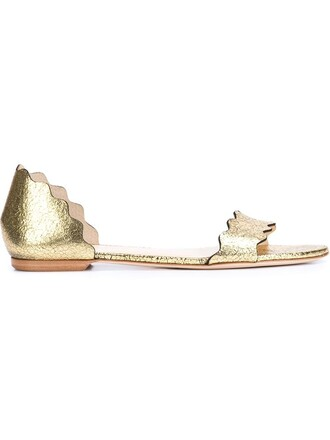 scalloped sandals metallic shoes