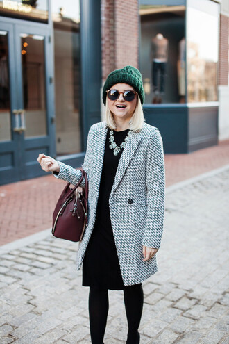 poor little it girl blogger dress coat shoes tights hat bag jewels