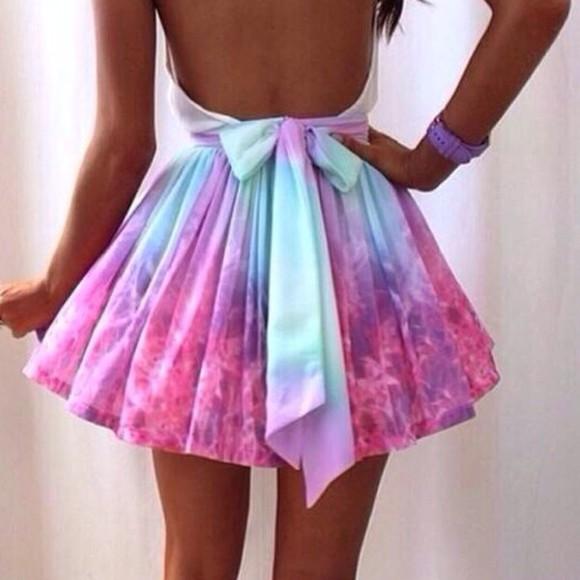 tie dye tie dye dress purple dress purple white dress bow dress Bow Back Dress skirt