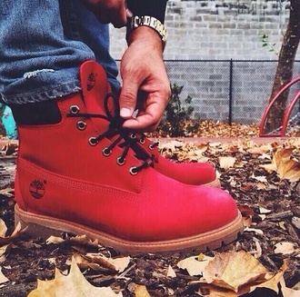 shoes mens shoes timberlands red timberland boots timerlands timbs 6 swaggie can these so cute them someone red boots boots timber lands