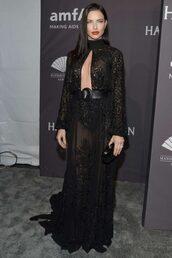 dress,adriana lima,gown,keyhole dress,black dress,maxi dress,lace dress