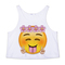 Floral happy face crop tank top