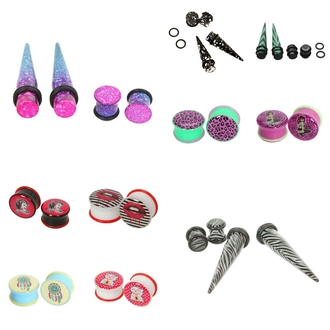 earrings jewels black white red plug plugs leopard print green neo green purple pink lips stripes yellow blue