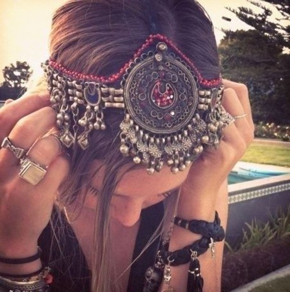 boho gypsy hair accessories headband jewels headdress festival festival chic boho chic hippie indian design headwear gypsy head chain head chain