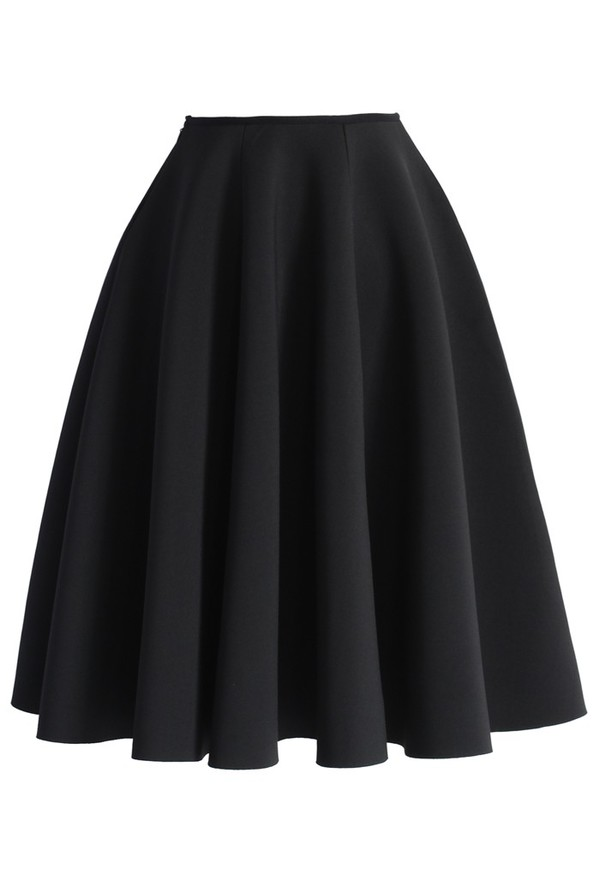 chicwish full skirt black skirt