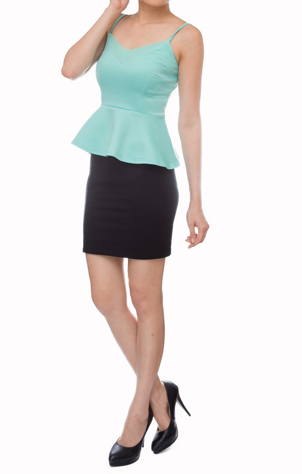 women basic light blue mint mesh peplum tank top