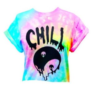 blouse chill colorful rainbow multicolor alien yin yang pastel tie dye shirt top