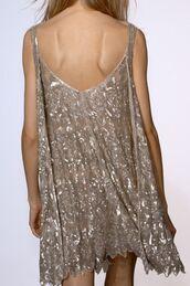 dress,cream dress,beige dress,nude dress,silver sparkles,spaghetti strap